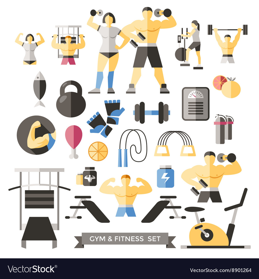 Bodybuilding knolling icon set vector