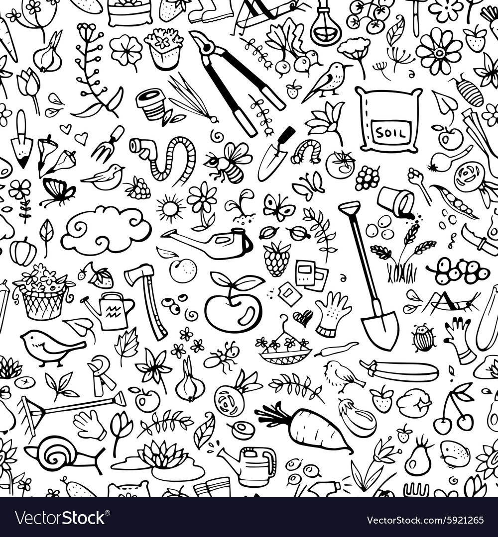 Hand drawn garden icons seamless background vector