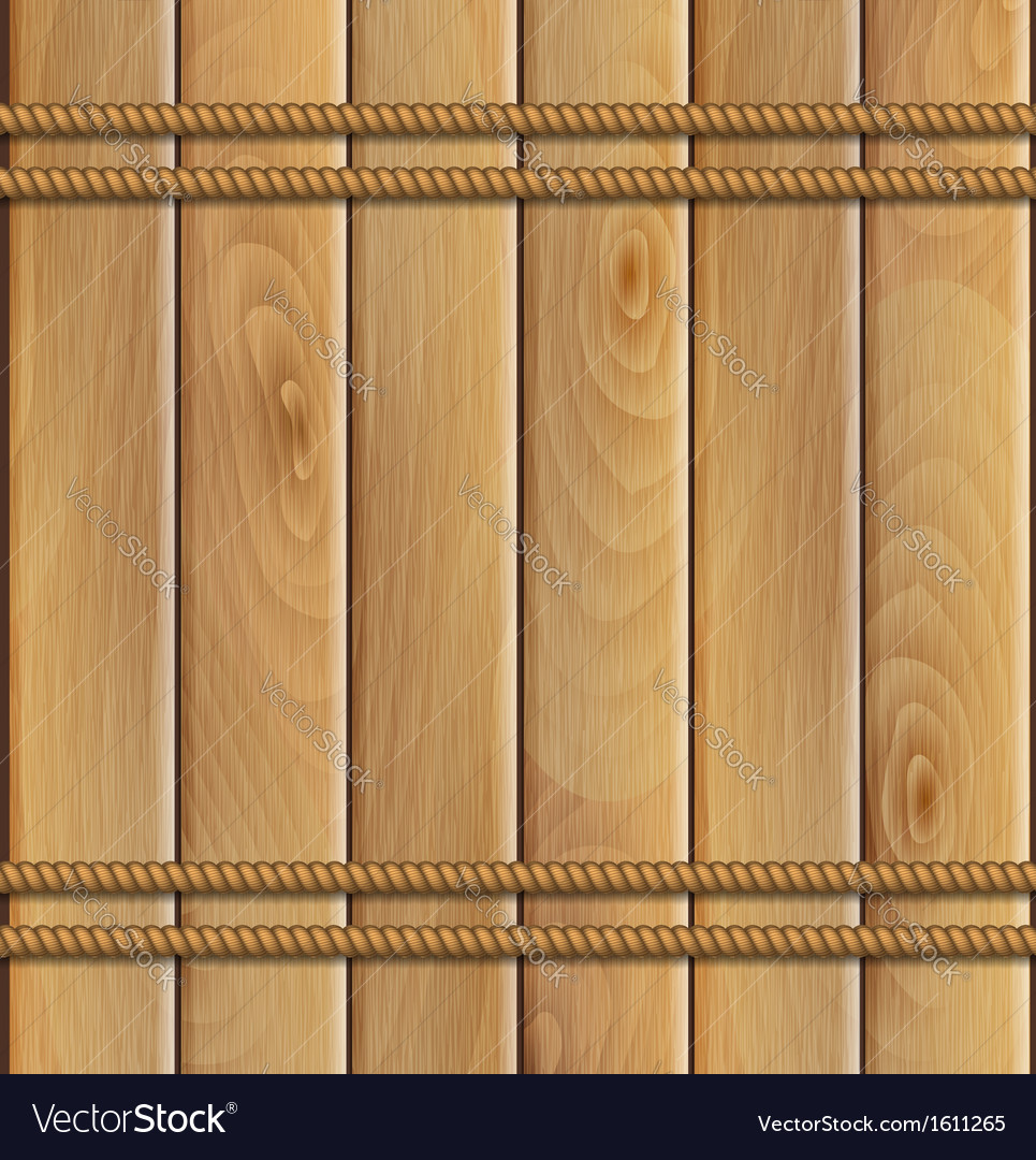 Rope and a wooden background vector