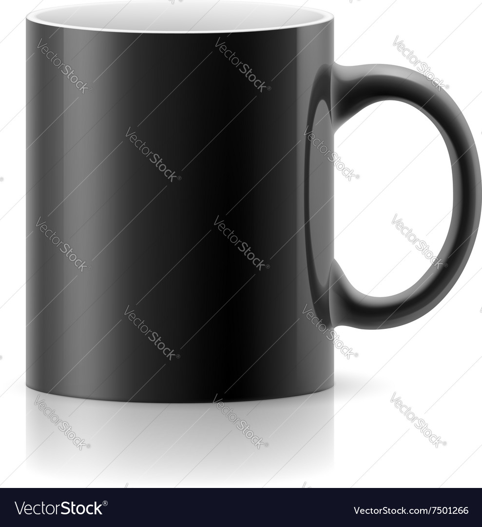 Black mug on white vector