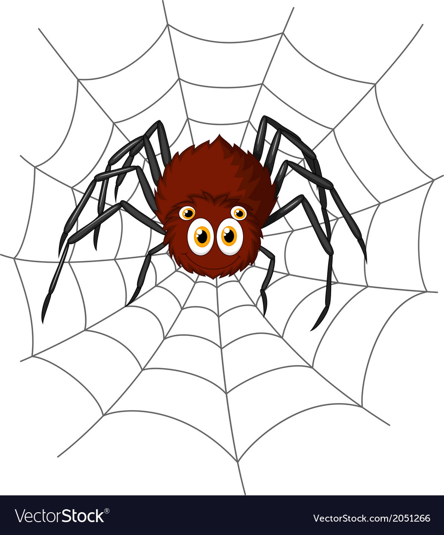 Cute spider cartoon vector