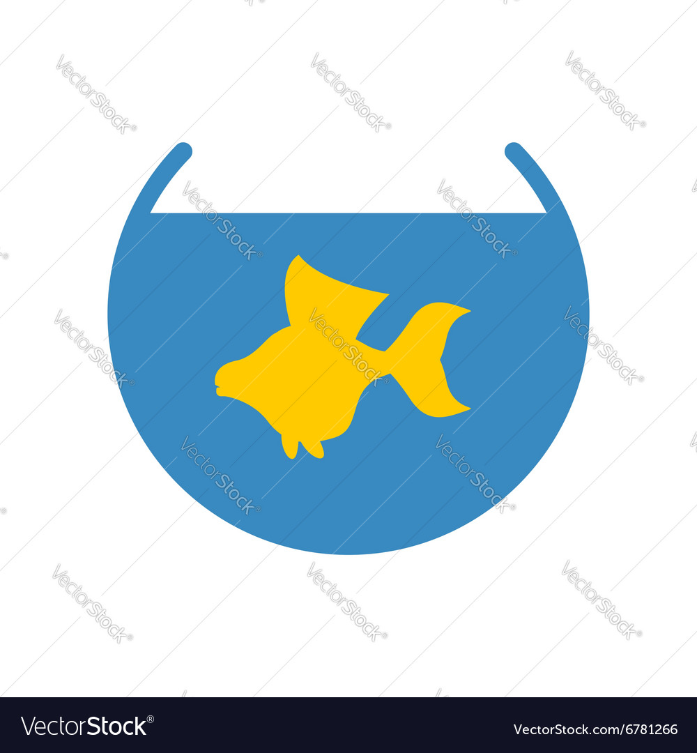 Goldfish in an aquarium icon yellow fish fulfills vector