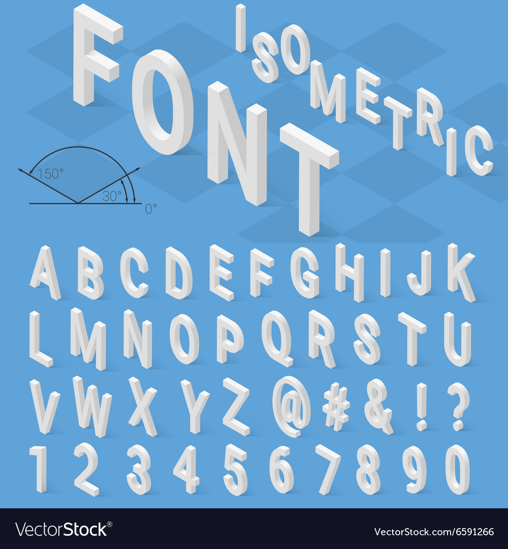 Isometric font alphabet with drop shadow on blue vector