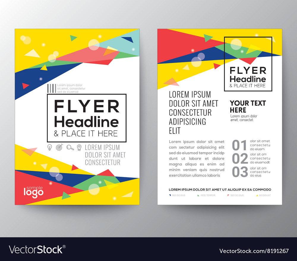 80s style triangle shape background flyer vector