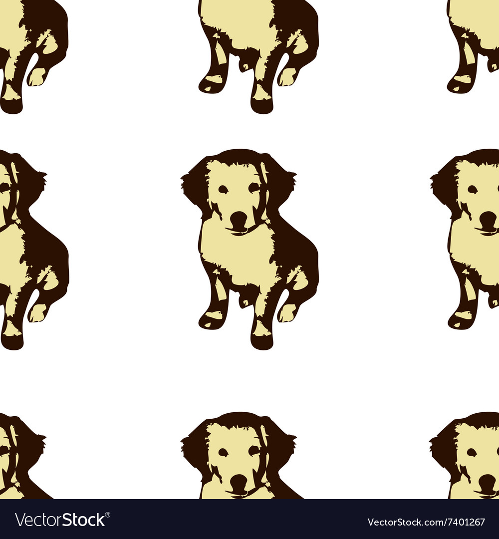 Dog puppie golden retriever seamless pattern vector