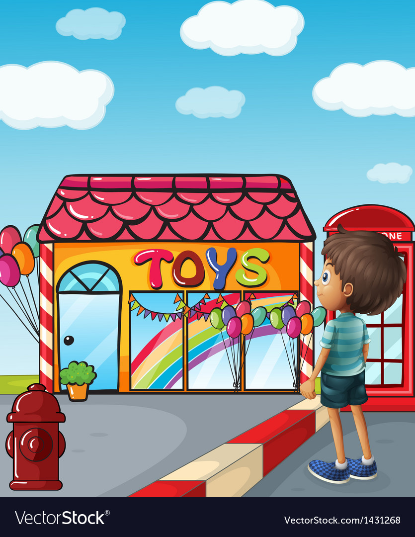 A boy standing near the toy store vector