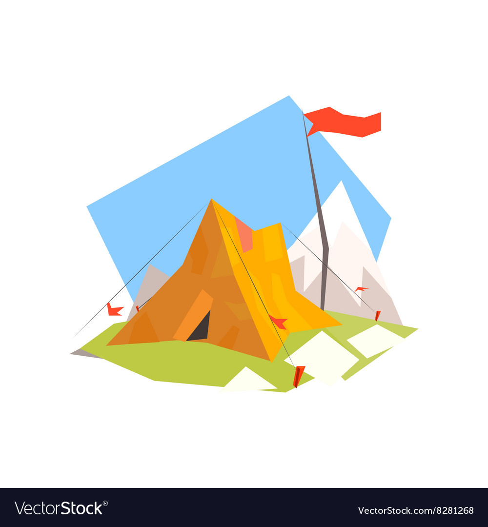 Mountain camp with tent vector