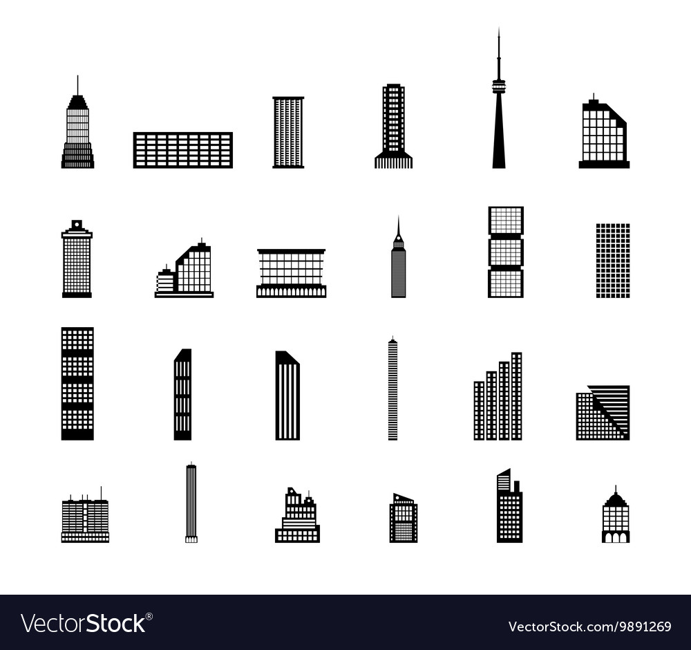 Set of various city buildings vector