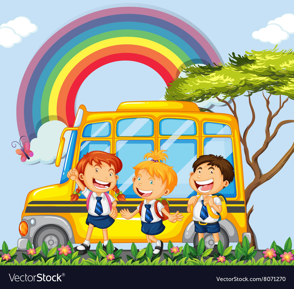 Students standing next to the school bus vector