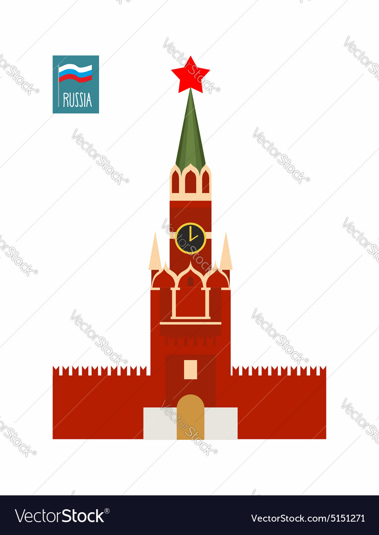 Tower of moscow kremlin sight of russia vector