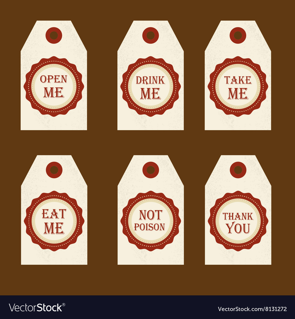 Alice in wonderland set with labels eat me vector