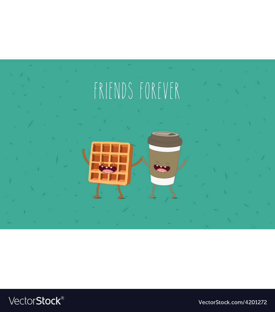 Coffee and waffel vector