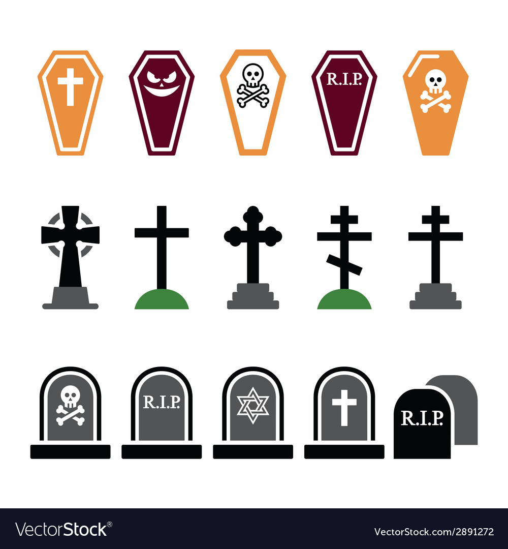 Halloween graveyard colorful icons set  coffin vector