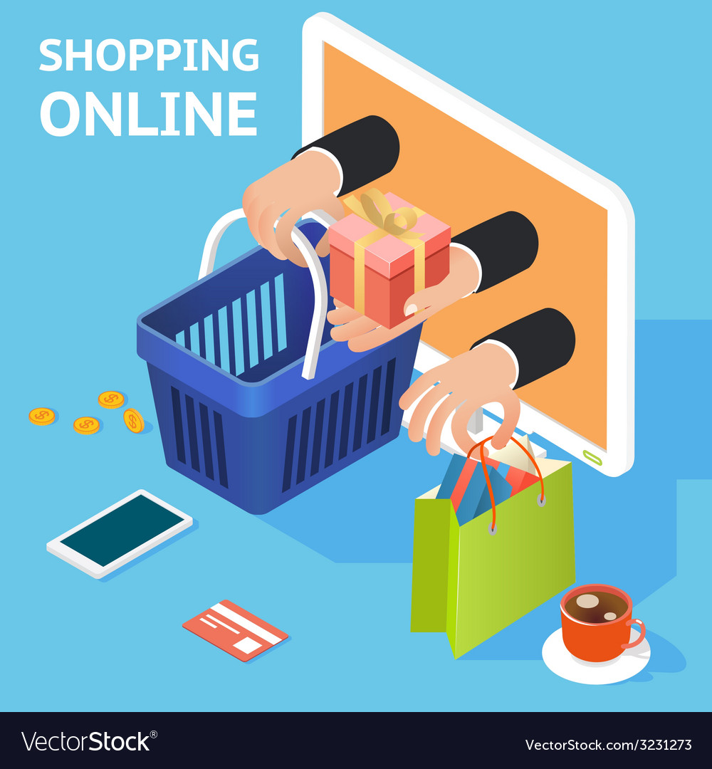 Ecommerce or online shopping concept vector