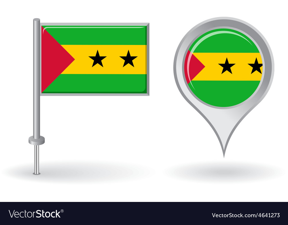 Sao tome and principe pin icon map pointer flag vector