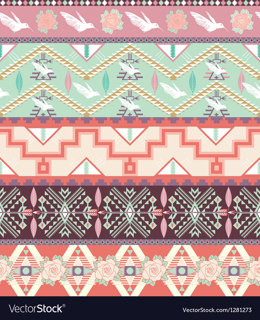 Seamless pastel aztec pattern with birds and roses vector