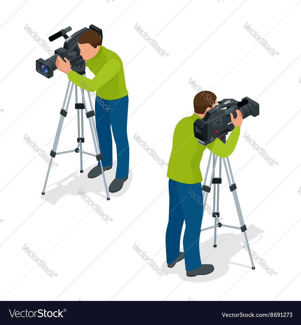 Video camera operator working with his vector