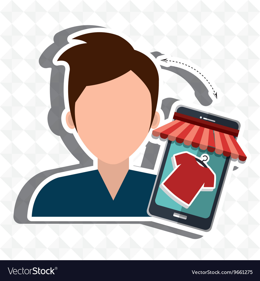 User ecommerce smartphone isolated icon design vector