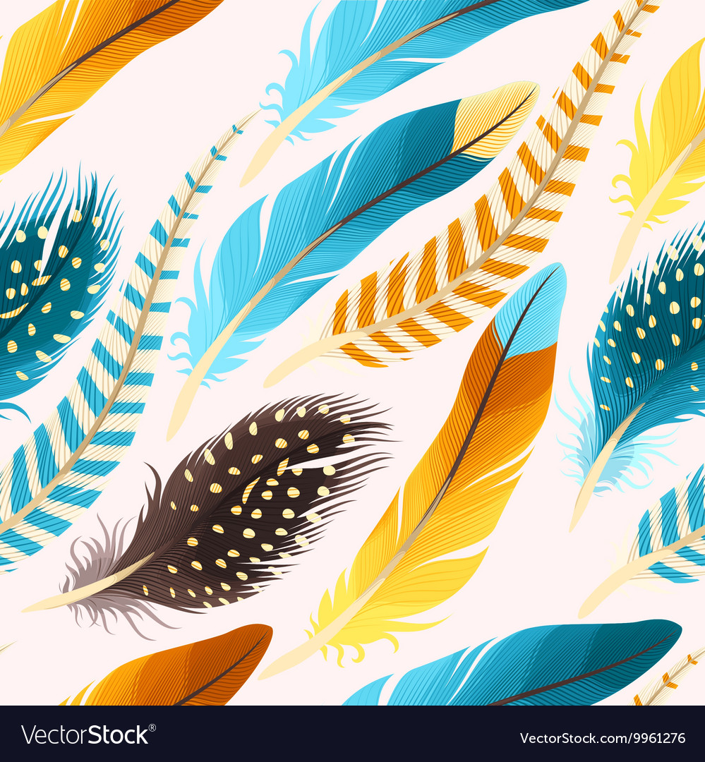 Decorative feathers seamless vector