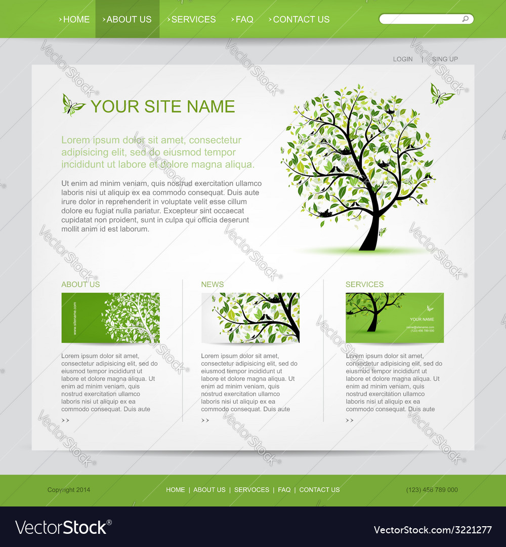Website design template with green tree vector