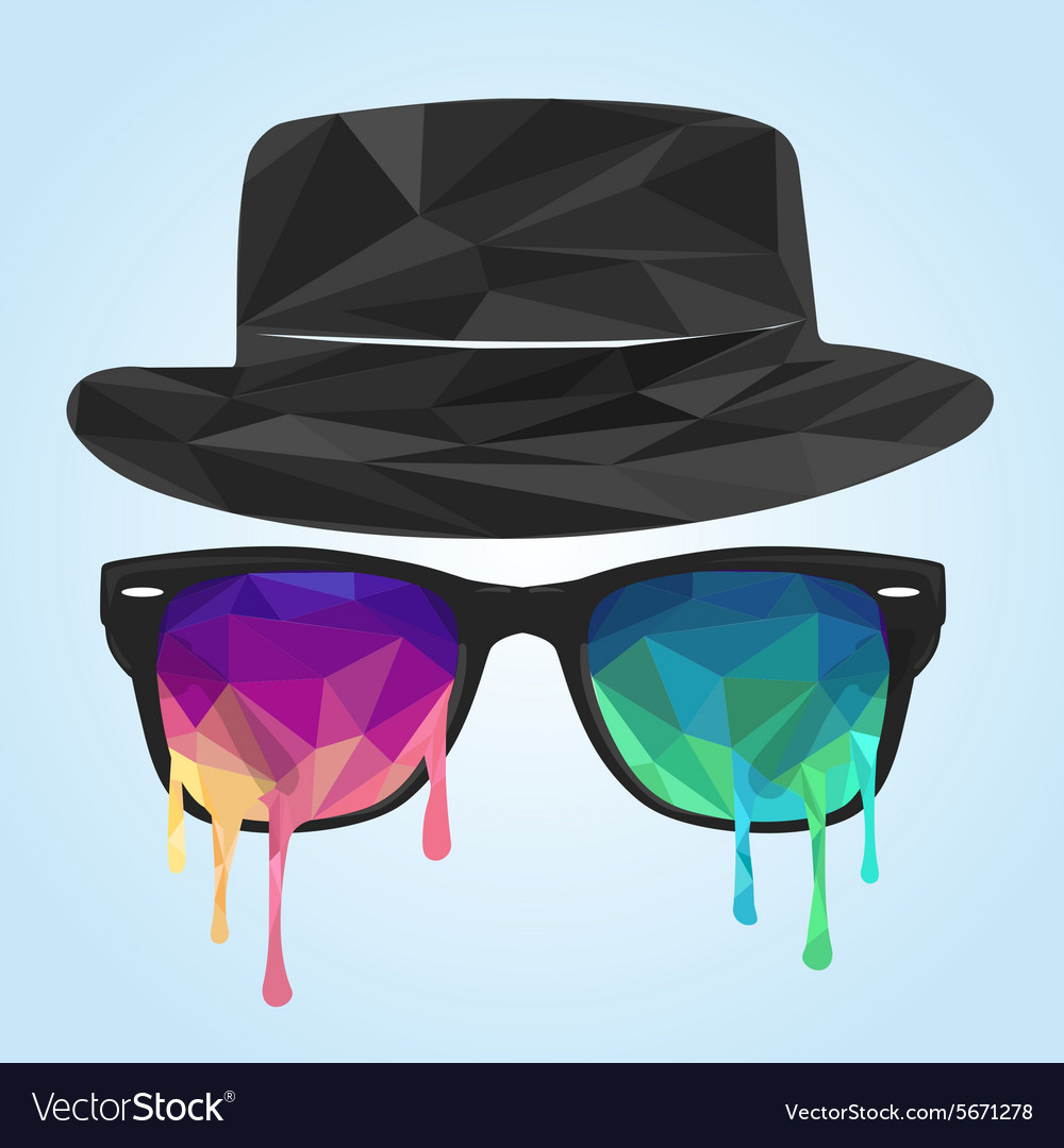 Glass polygon hat polygon vector