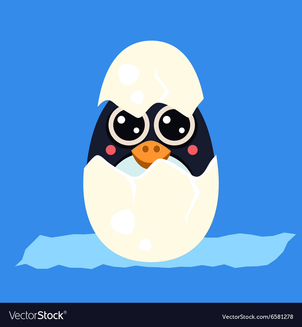 Penguin baby in an egg vector