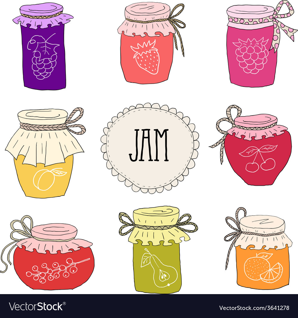 Set of hand drawn jars with homemade jams vector