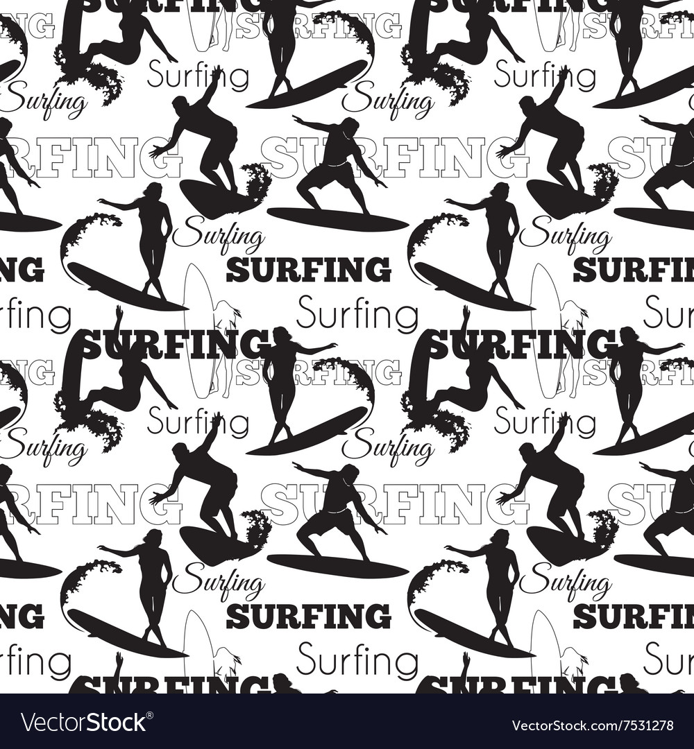 Surfing people california black and white vector