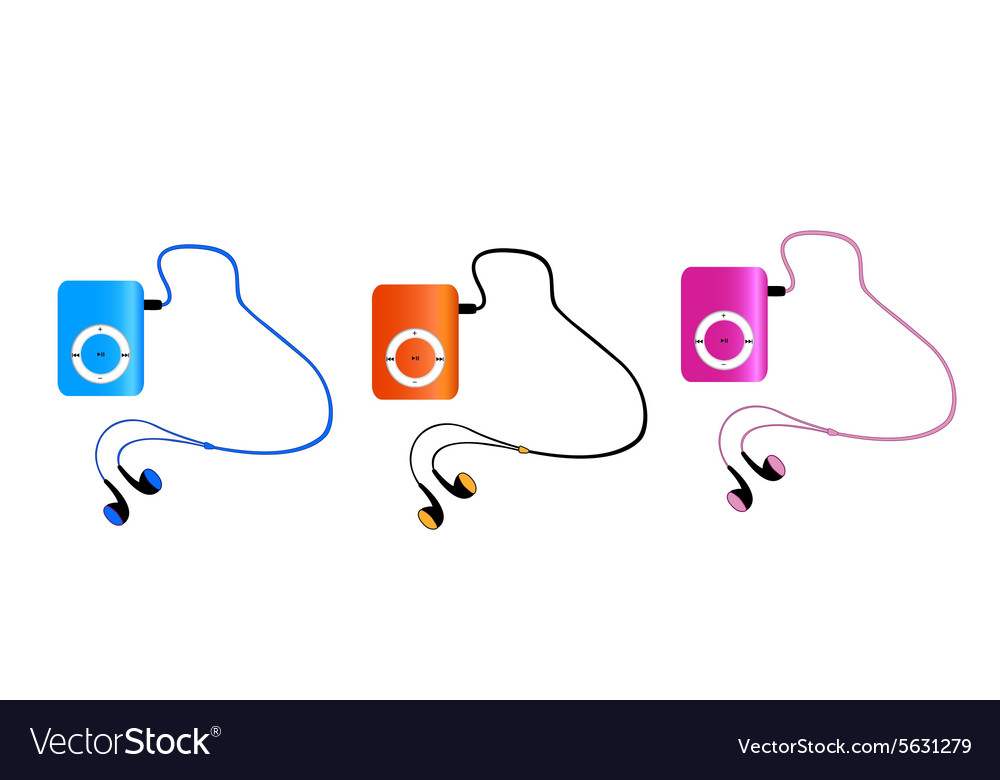 Real colored mp3 players with headphones isolated vector