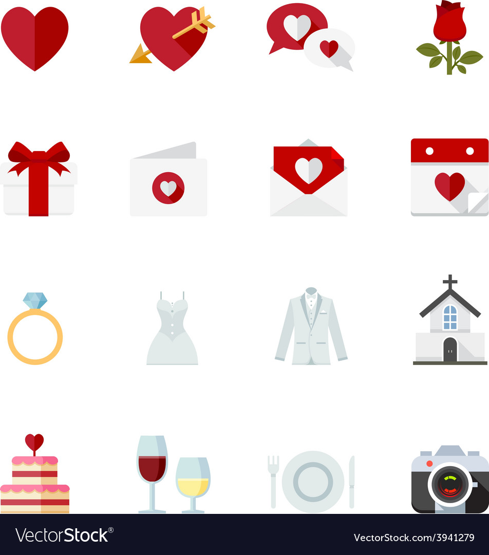 Wedding and love icons vector