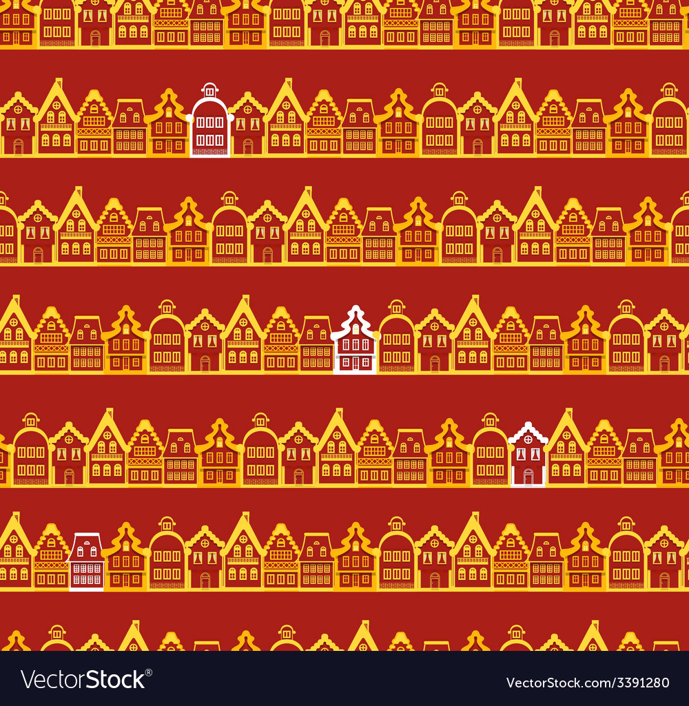 Christmas greeting card vintage buildings vector