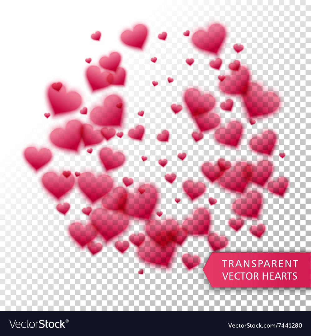 Confetti falling from red hearts vector