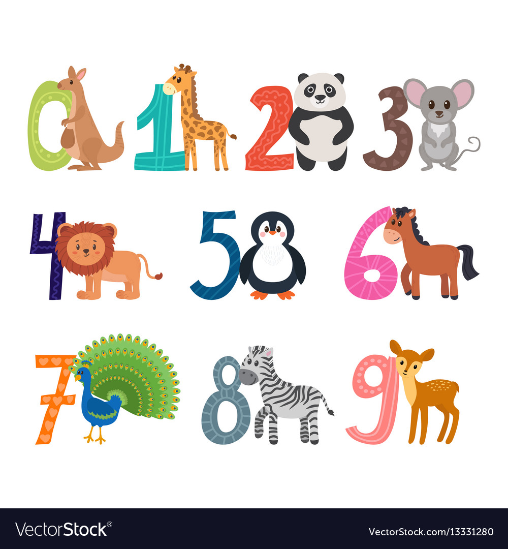 Learn to count funny cartoon childish with cute vector