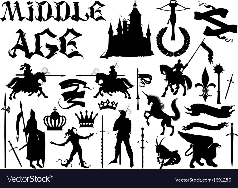 Silhouettes and icons on the medieval theme vector