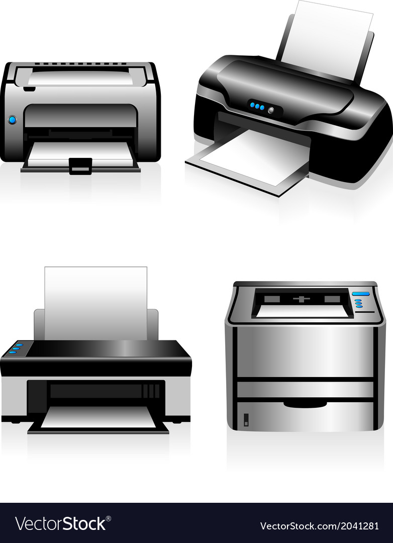 Computer printers  laser printers and ink jets vector