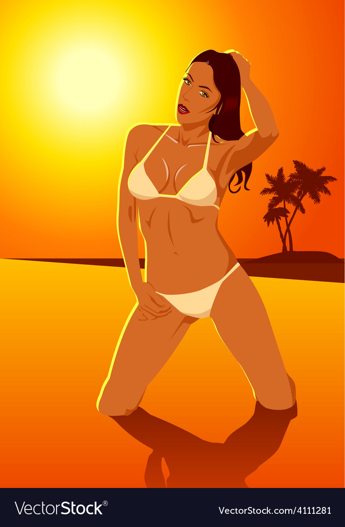 Sexy woman in bikini vector