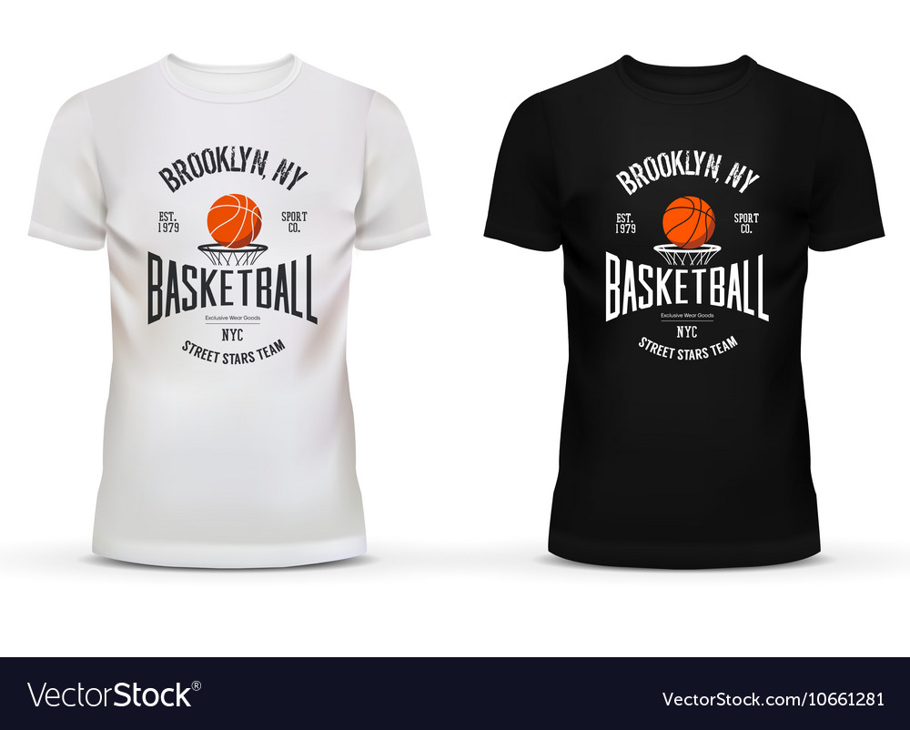 Tshirt cotton sportswear with basketball theme vector