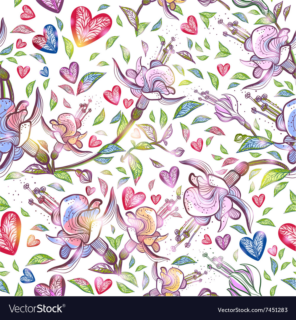 Abstract seamless pattern with flowers and hearts vector