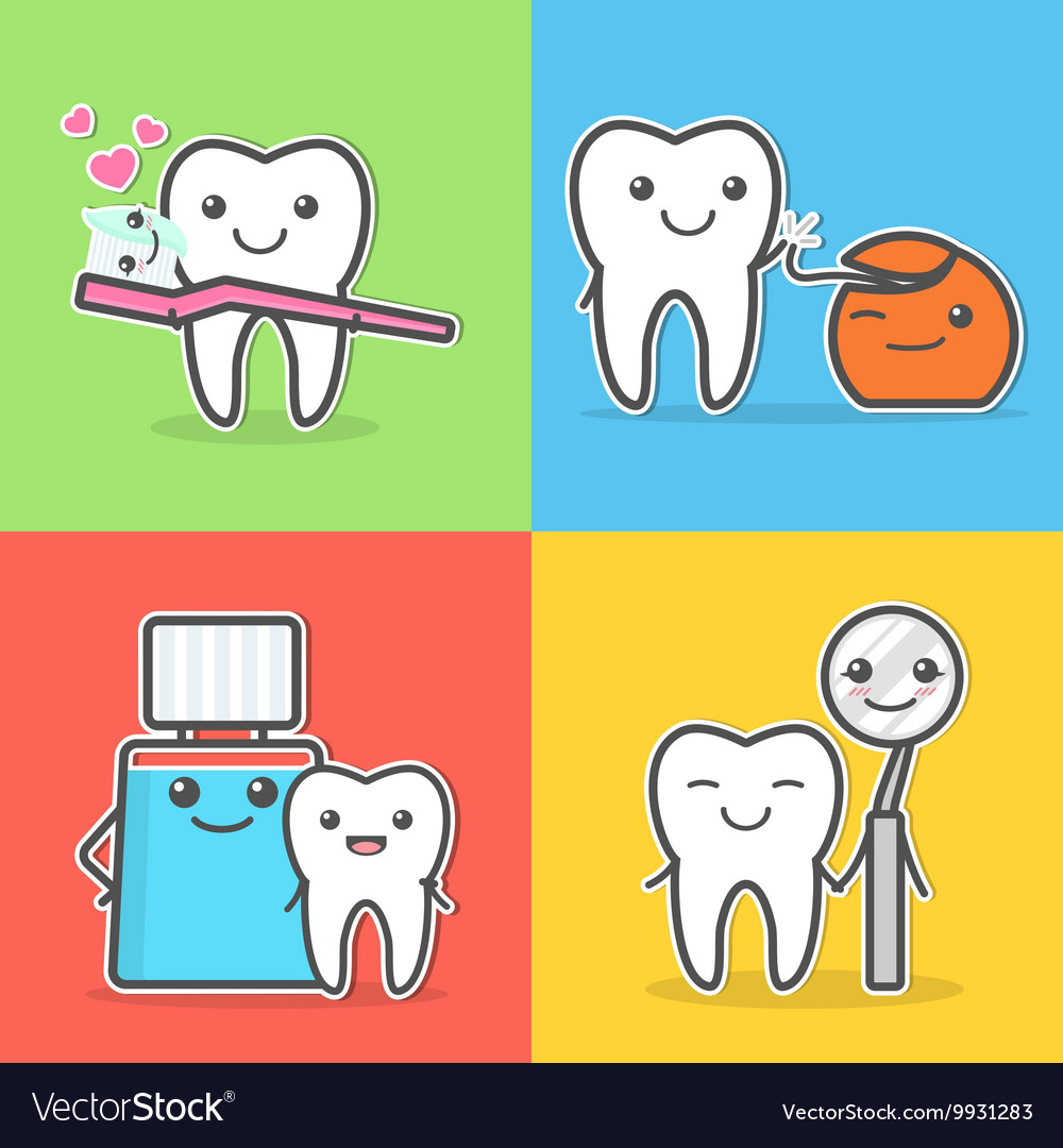 Cartoon teeth care and hygiene vector