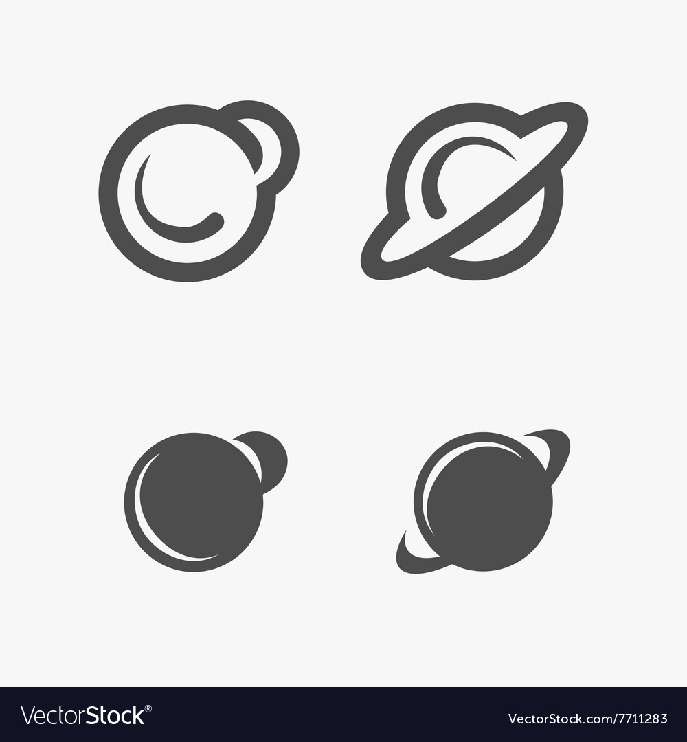 Four planets icons vector