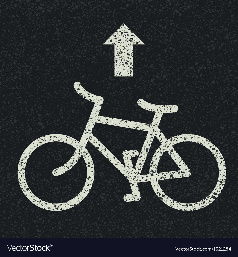 Bicycle icon on asphalt vector