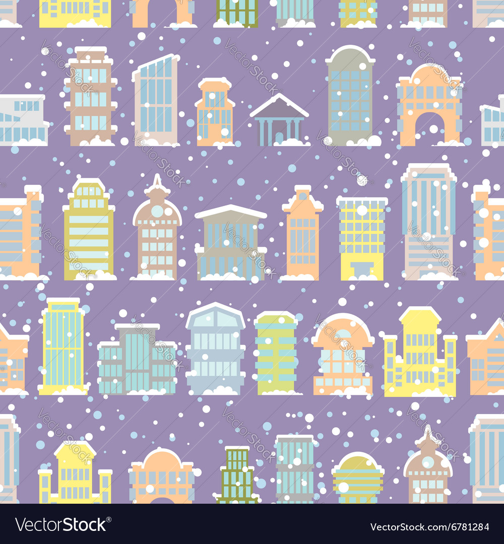 Winter city seamless pattern snowfall skyscrapers vector