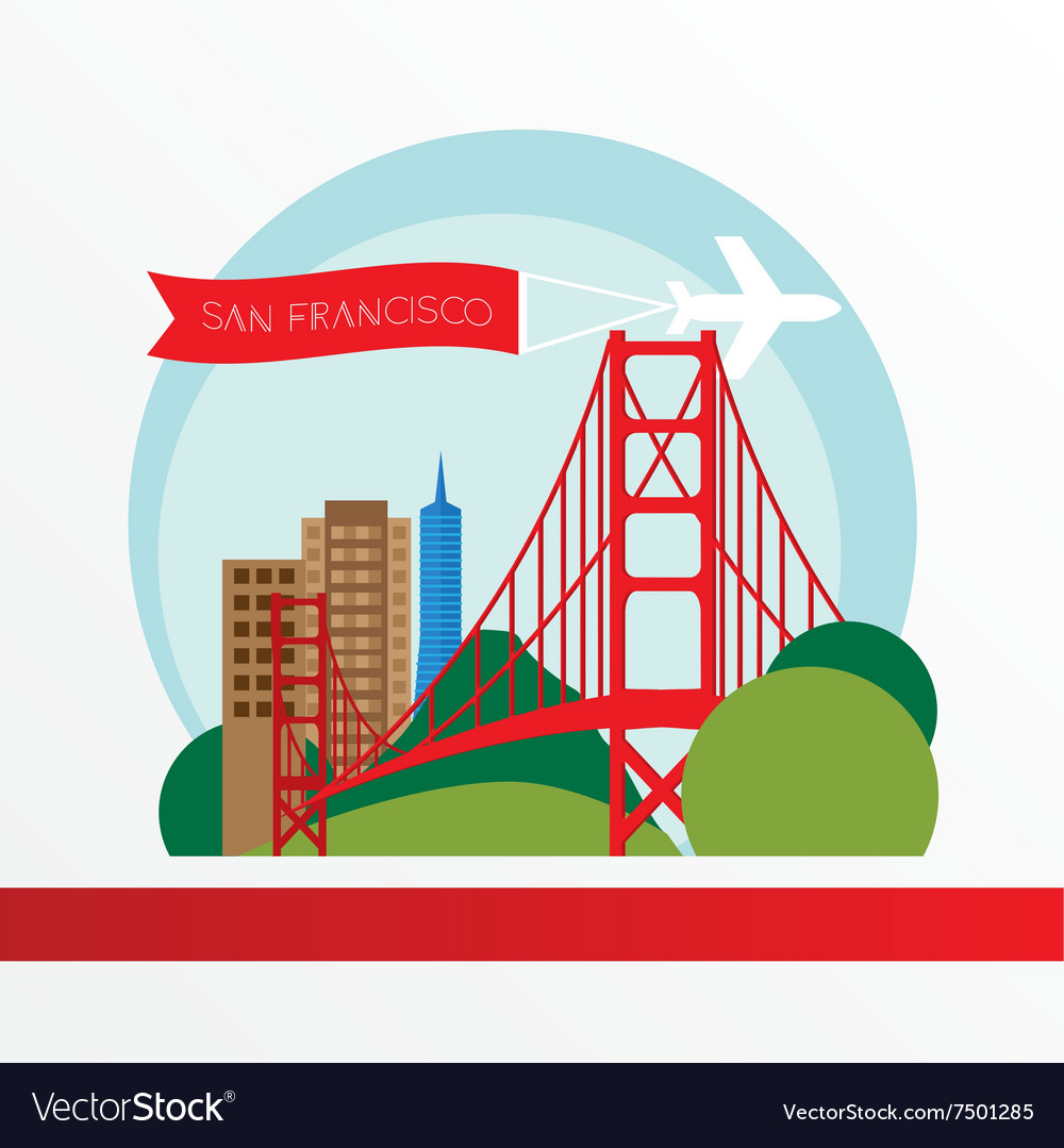 Golden gate bridge  the symbol of us san vector