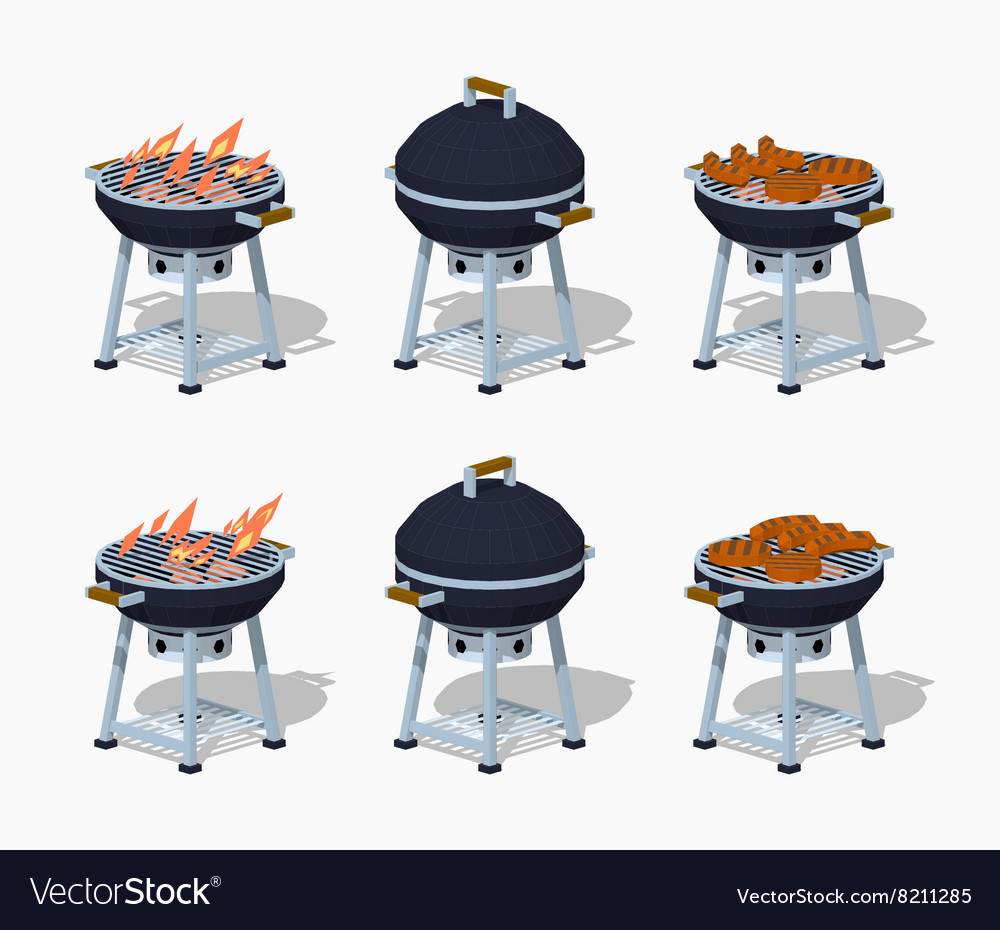 Low poly barbecue vector