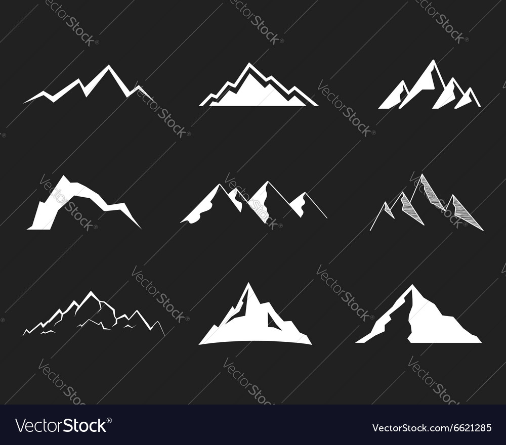 Set of mountain silhouette elements outdoor icon vector