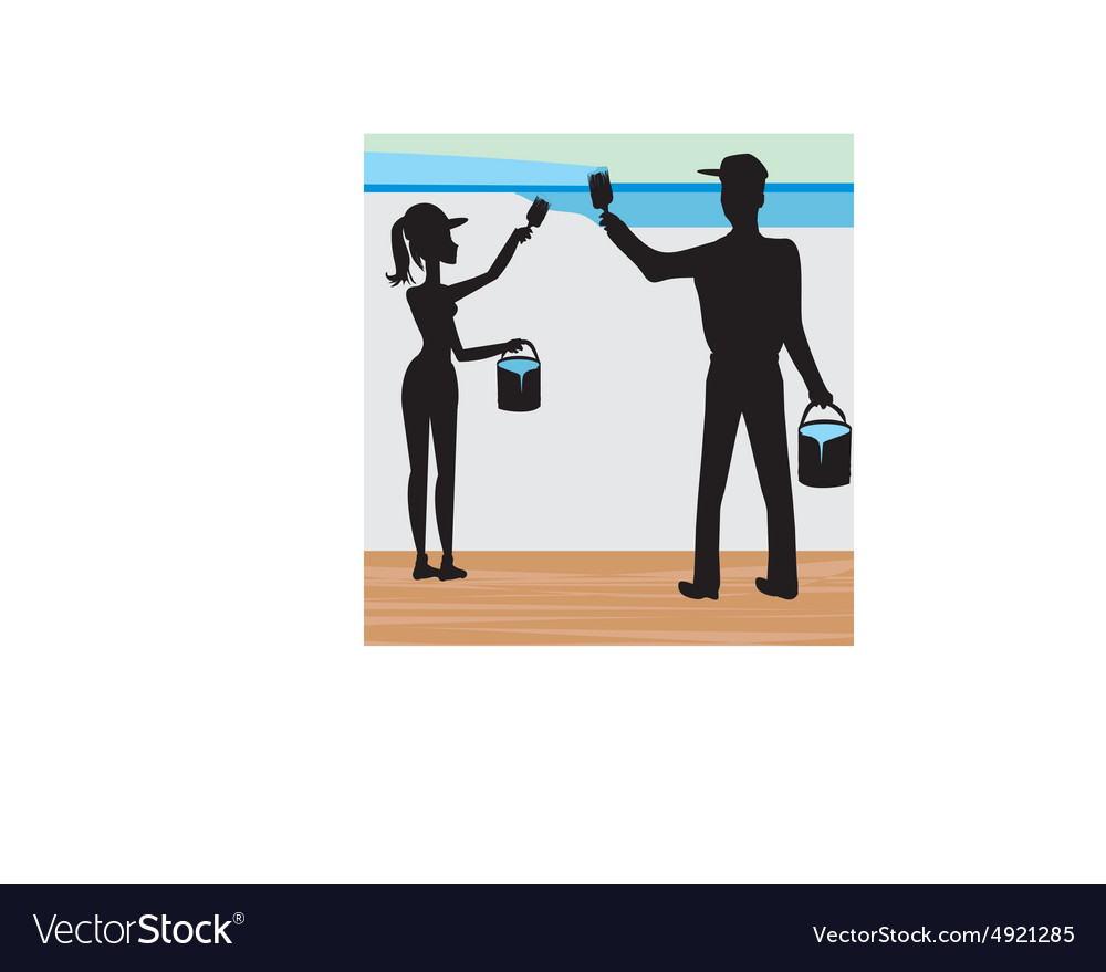 Silhouettes of two people painting a wall vector