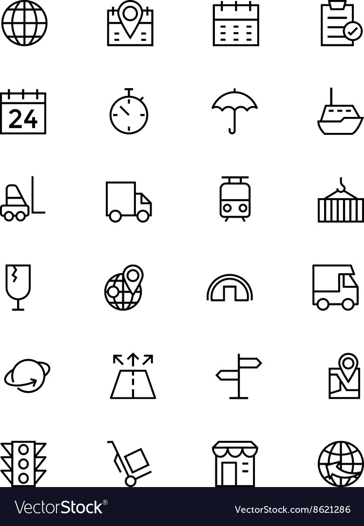 Global logistics line icons 1 vector