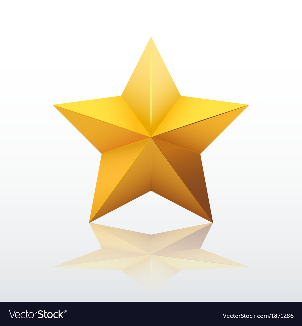 Gold fivepointed star vector