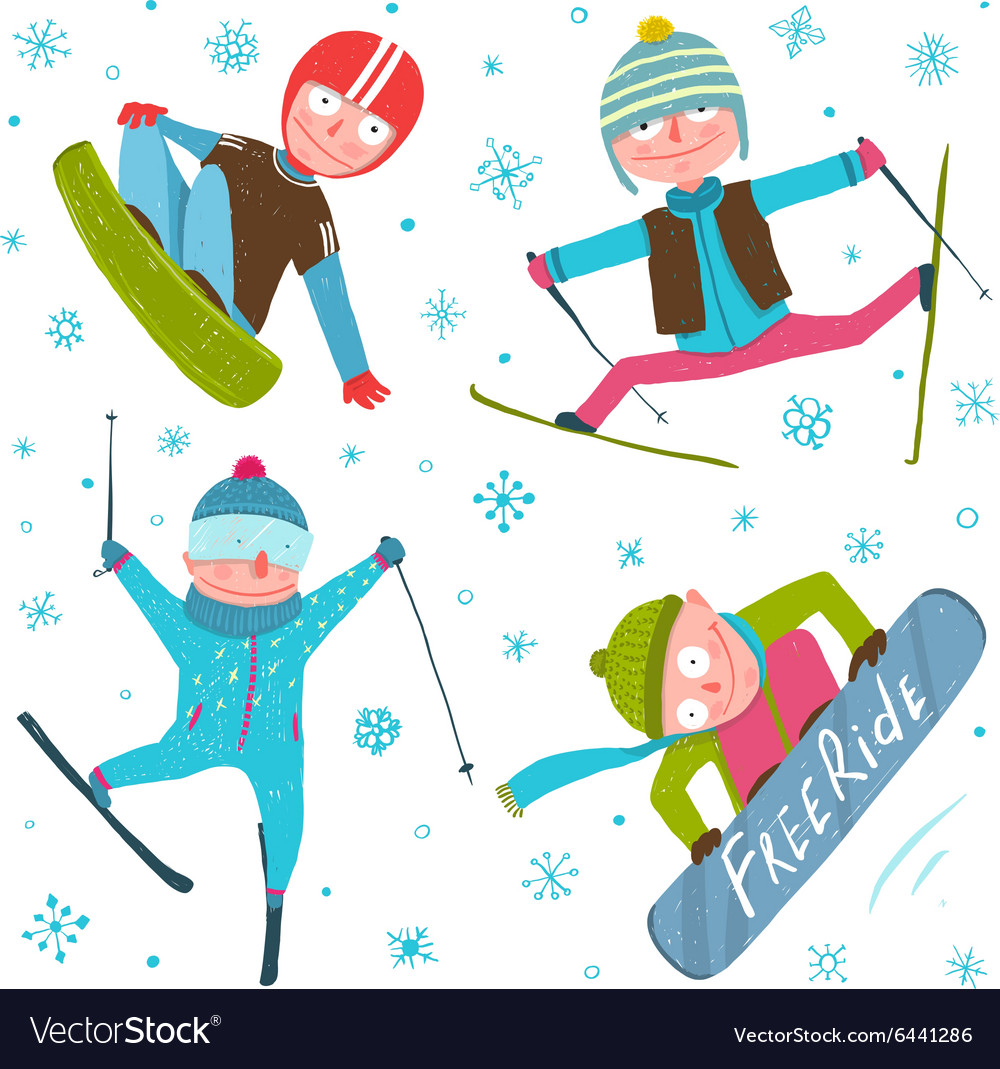 Skier snowboarder winter sport seasonal collection vector