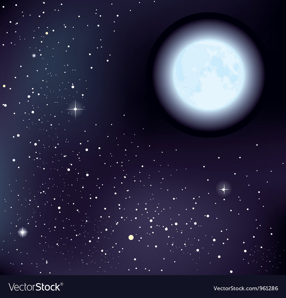 Starry sky and moon vector